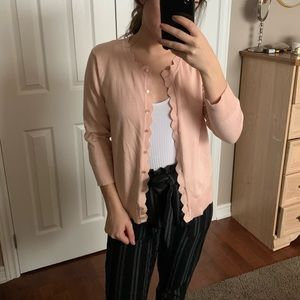 Sweaters - Baby Pink Cardigan with Scalloped Hem